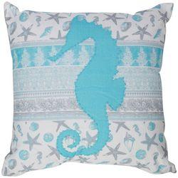 Coastal Home Seahorse Applique Decorative Pillow