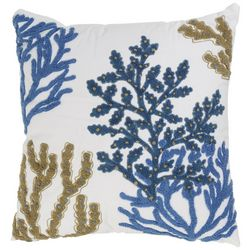 Coastal Home Embroidered Coral Reef Tufted Decorative Pillow