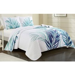 Red Pineapple Palm Leaf Quilt Set