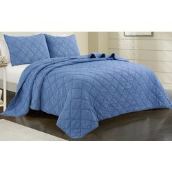 Coastal Home Solid Diamond Quilt Set