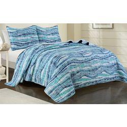 Coastal Home Ava Stripe Quilt Set