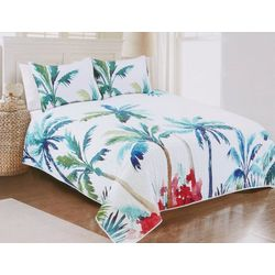 Red Pineapple Palm Tree Quilt Set