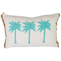 Red Pineapple Palm Trio Fringe Decorative Pillow