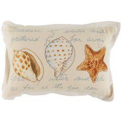 Coastal Home Script Shell Trio Decorative Pillow