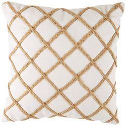 Red Pineapple Rope Diamond Trim Decorative Pillow