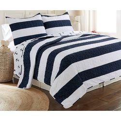 Tackle & Tides Hallie Anchor Stripe Quilt Set