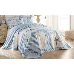 Beach Haven Sealife Patchwork Seersucker Bedspread