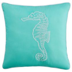 Beach Haven Seahorse Embroidered Decorative Pillow