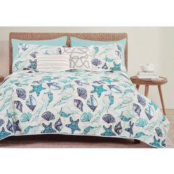 Seaside Collection Blue Shells Quilt Set