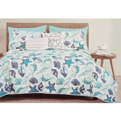 Blue Shells Quilt Set