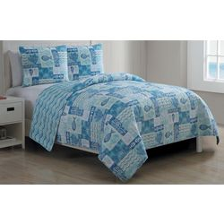 3-pc. Patchwork Sealife Quilt Set