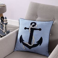 VCNY Home Blue Anchor Decorative Pillow