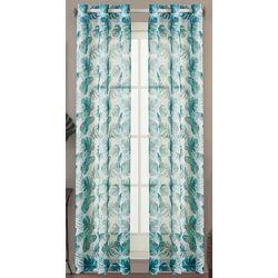 Caribbean Joe 2-pc. Watercolor Palm Sheer Curtain Panel