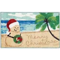 Merry Christmas Sand Snowman Accent Rug