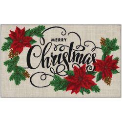 Merry Christmas Poinsettia Accent Rug