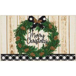 Merry Christmas Wreath Accent Rug