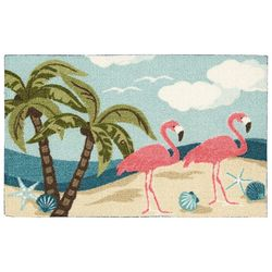 Two Flamingos & Beach Accent Rug