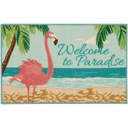 Welcome To Paradise Flamingo Accent Rug