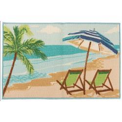Beach Chair & Umbrella Accent Rug
