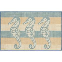 Three Seahorse & Stripe Accent Rug