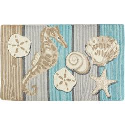 Beach Seahorse Shells Hand Hooked Accent Rug