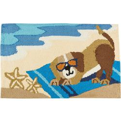 Dog On Beach Hand Hooked Accent Rug