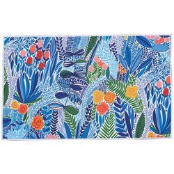 Blue Floral Accent Rug
