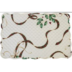 Lenox Holiday Nouveau Holly Leaf & Plaid Reversible Placemat
