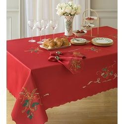 Holiday Nouveau Cutwork Embroidered Plaid Table Runner