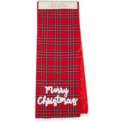 Table Trends Merry Christmas Plaid Table Runner