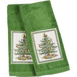 Spode 2-pc. Christmas Tree Applique Kitchen Towel Set