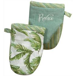 Relax Palm Cove Embroidered Mini Oven Mitt