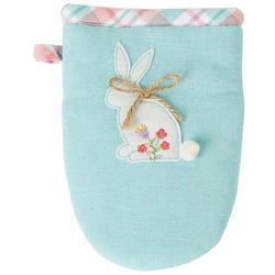 Hello Spring Bunny Embroidered Grabber Mitt