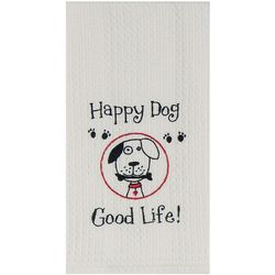Happy Dog Waffle Kitchen towel