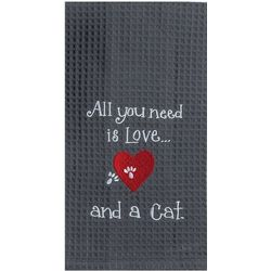 Kay Dee Designs Cat Love Waffle Kitchen Towel