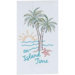 Palm Tree On Island Time Flour Sack Towel