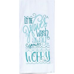 Wash Away Worry Embroidered Flour Sack Towel
