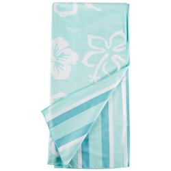 Hibiscus & Stripe Beach Towel