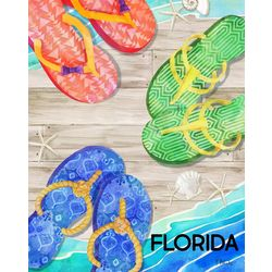 Flip Flop Florida Beach Towel