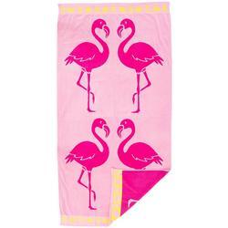 Tropical Flamingo Beach Towel