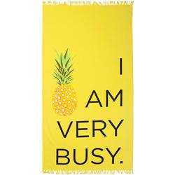 Pineapple I Am Very Busy Beach Towel