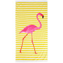 Flamingo Stripe Beach Towel