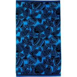 Coastal Home Wood Cut Fish Beach Towel