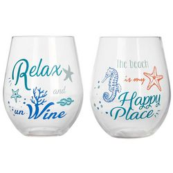 2-pc. 14 oz. Summer Sealife Wine Goblet Set
