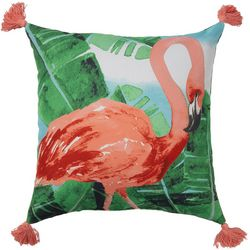 Flamingo Tassle Outdoor Pillow