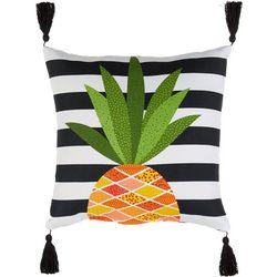 Pineapple Stripe Tassle Outdoor Pillow