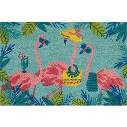 Beach Party Flamingo Coir Outdoor Mat