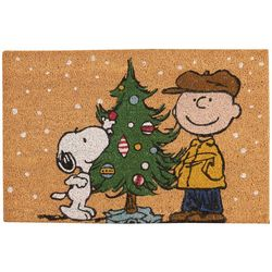 Nourison Peanuts Christmas Tree Coir Doormat