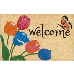 Nourison Welcome Butterfly & Flower Coir Outdoor Mat