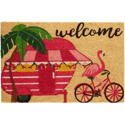 Camper Flamingo Welcome Coir Outdoor Mat